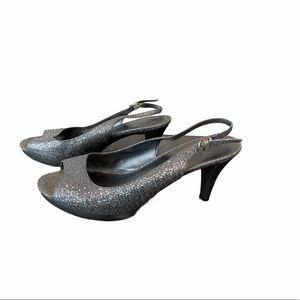 Nine West sequins open toe heels